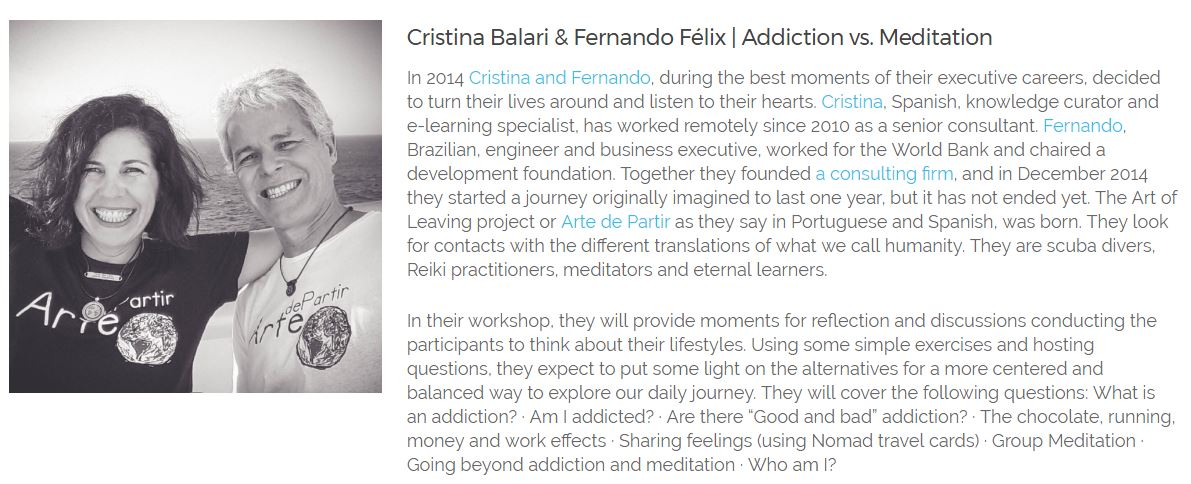 "Workshop: ""Addiction versus meditation"""